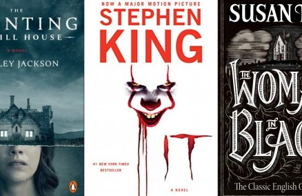 L-R: The Haunting of Hill House by Shirley Jackson; It by Stephen King; The Woman in Black by Susan Hill